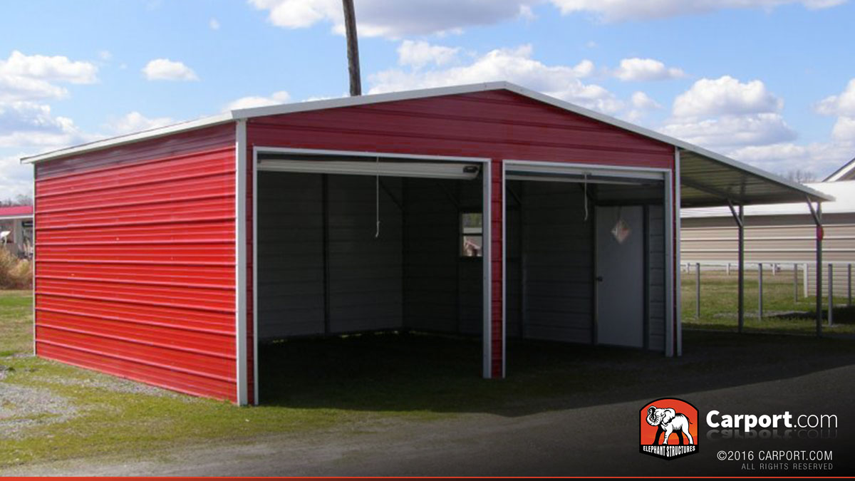Metal garage two car 32 39 x 26 39 shop metal buildings online for Garages and carports