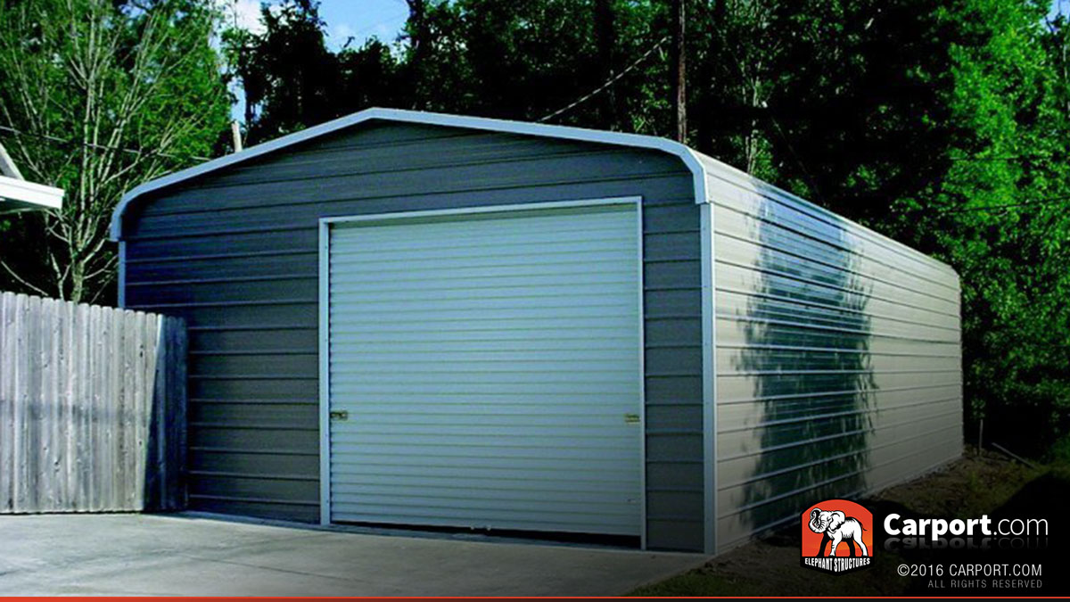 One Car Steel Garage Metal Roof 20 39 X 31 39 Shop Steel