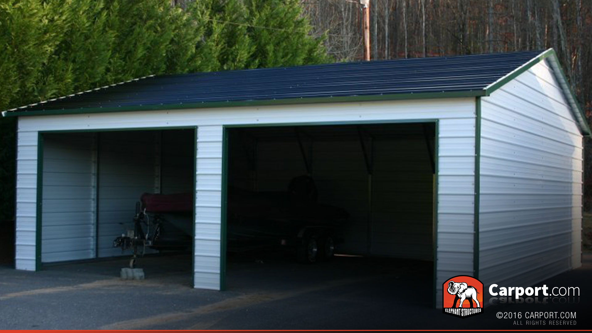 Metal building with two garage doors 22 39 x 26 39 shop for Carports and garages