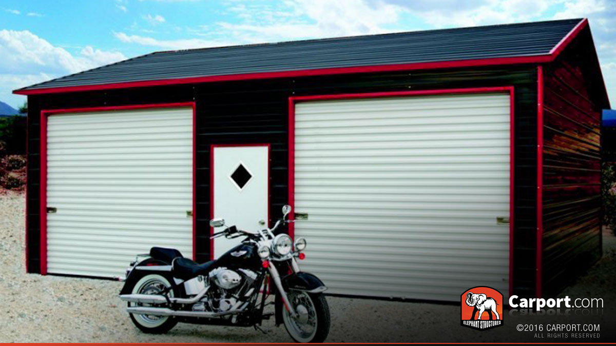 two car steel garage with metal roof 22 39 x 26 39 shop garages online. Black Bedroom Furniture Sets. Home Design Ideas