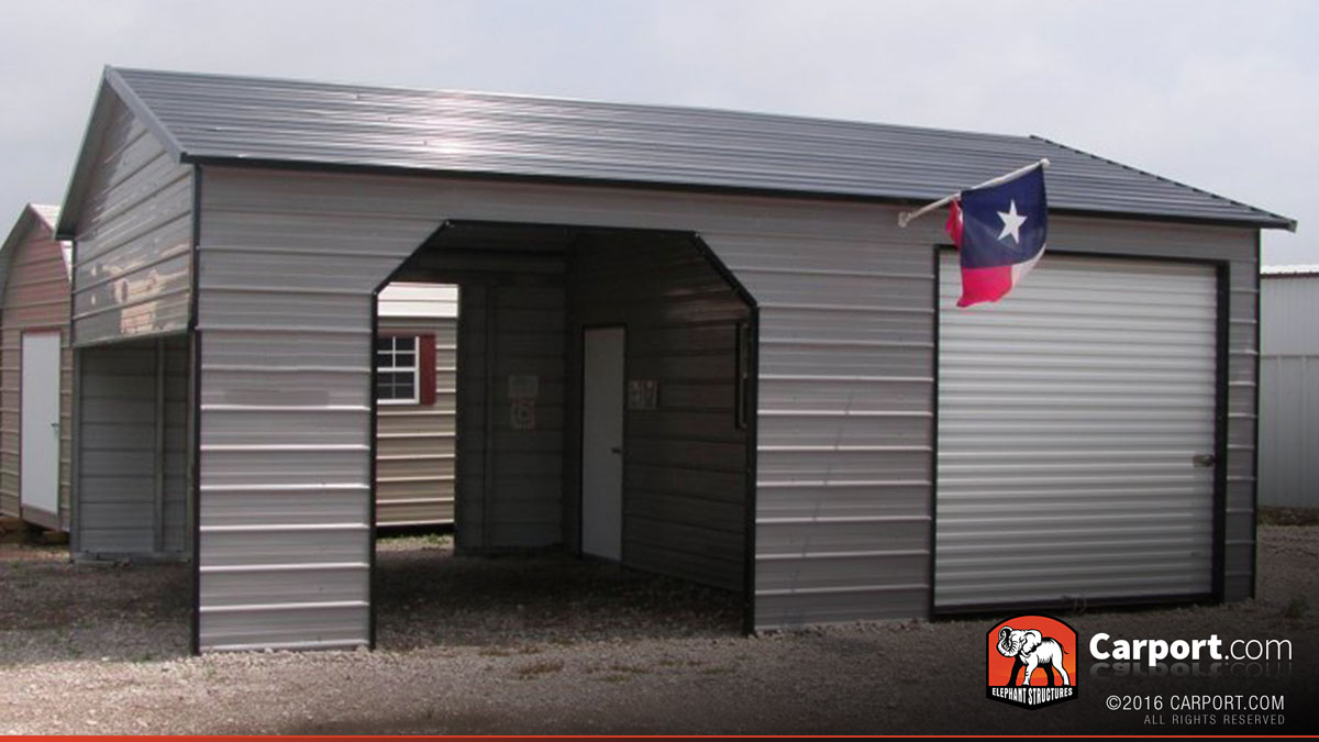 Metal garage with storage area 22 39 x 31 39 shop metal for Carport shop