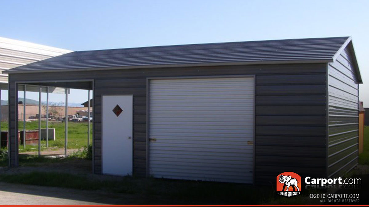 metal garage with two sections 22 39 x 31 39 shop metal buildings online. Black Bedroom Furniture Sets. Home Design Ideas