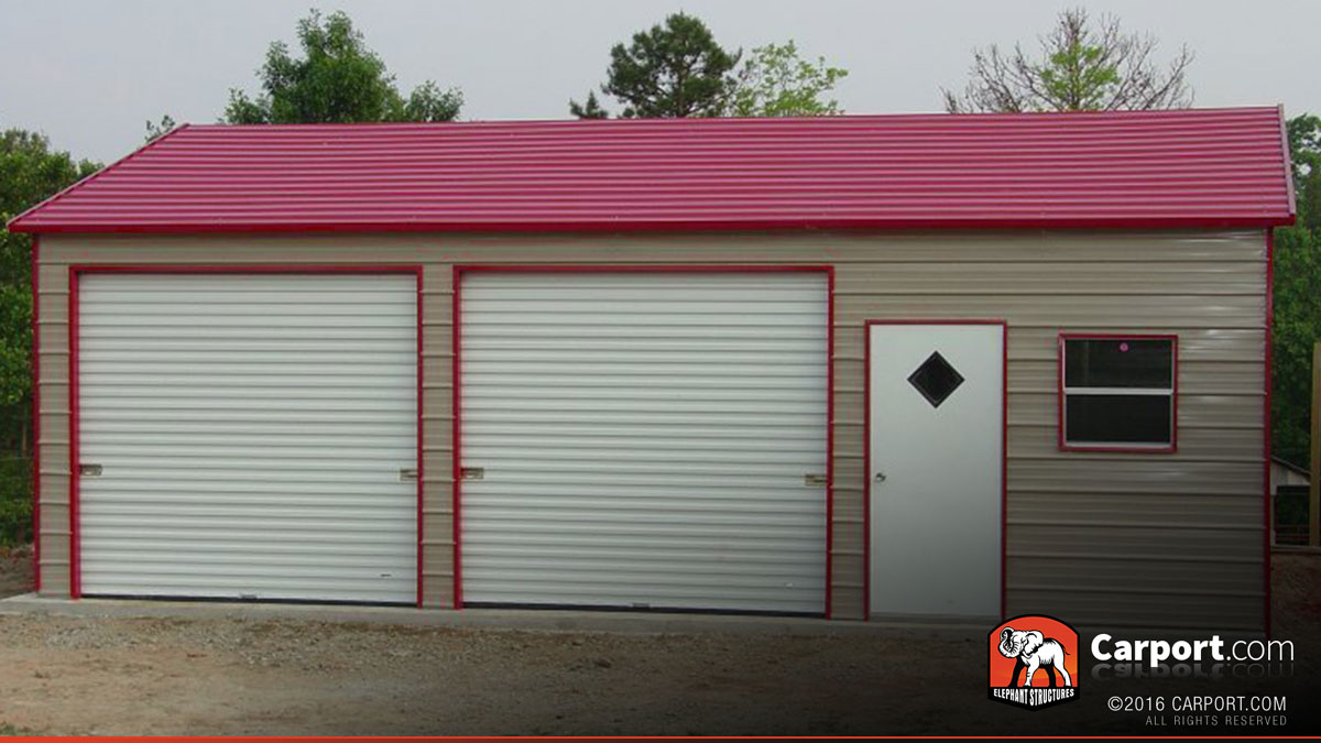 Two car steel garage 22 39 x 36 39 x 9 39 shop metal buildings for Carport shop