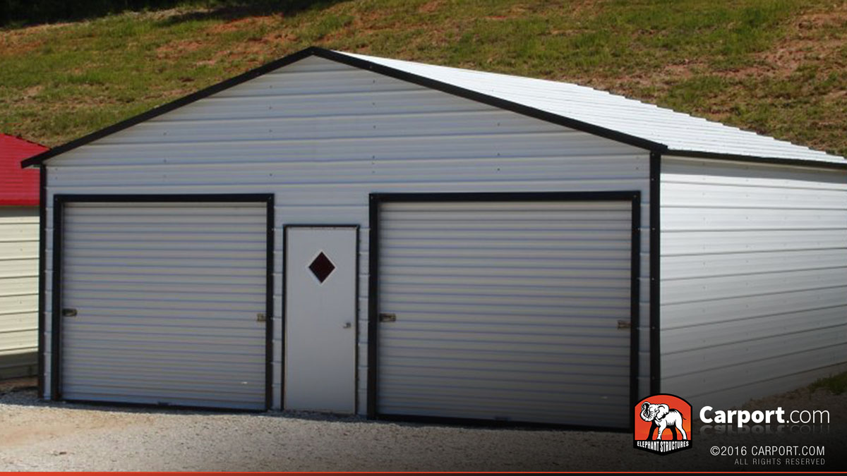 Metal garage building boxed eave roof 22 39 x 21 39 shop for Carports and garages