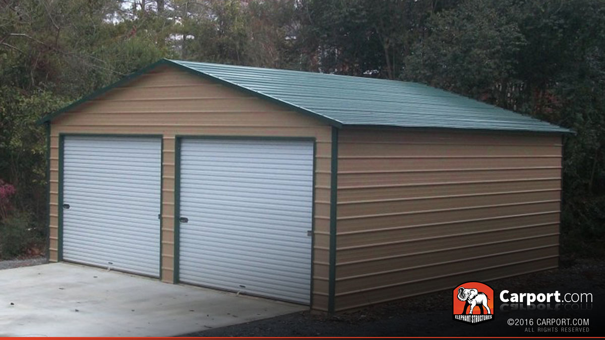 Metal garage building for two cars 24 39 x 26 39 shop for Carports and garages