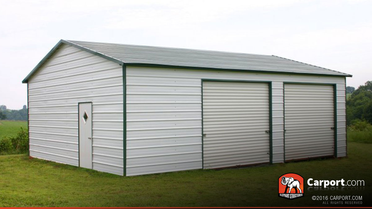Two car metal garage 24 39 x 31 39 shop metal buildings online for Carport shop