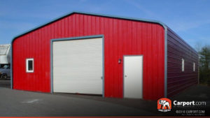 24x36 Metal Building with Large Garage Door