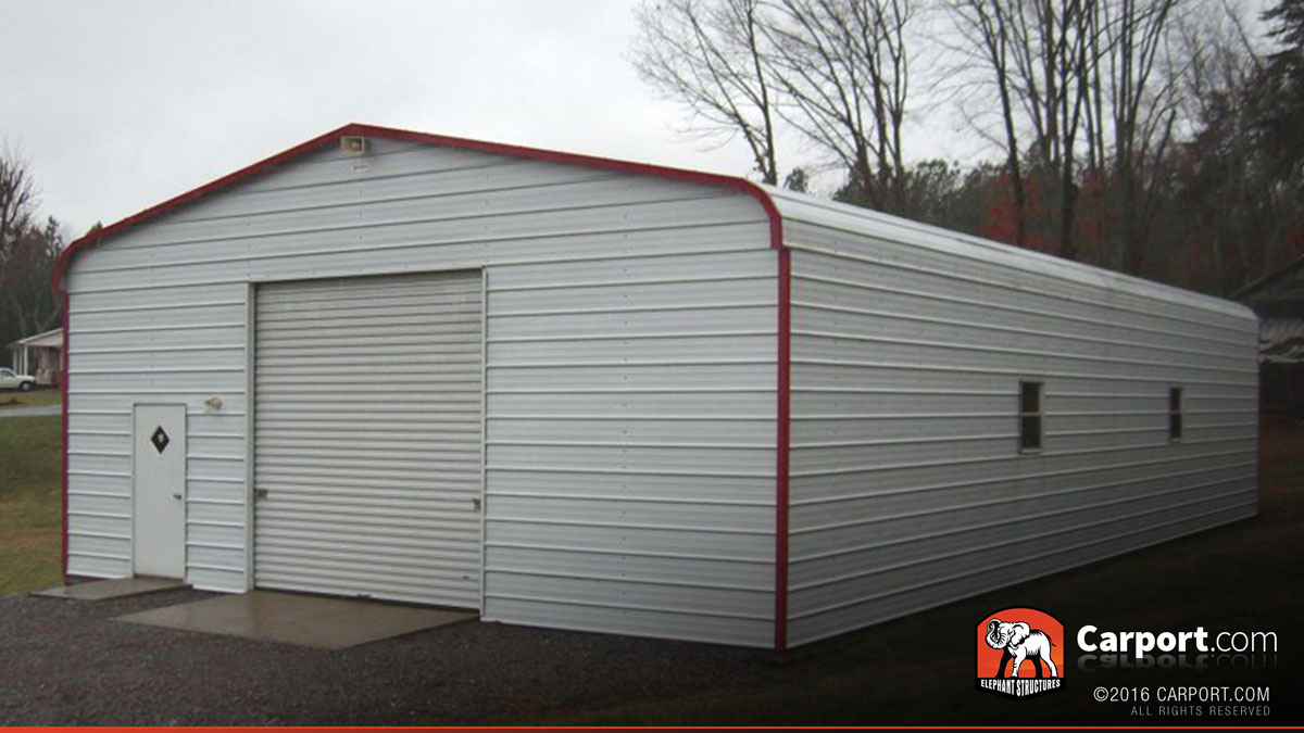 Metal garage with regular roof 24 39 x 36 39 shop metal for Garage roof styles