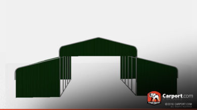 36 x 26 x 10 open metal horse barn regular roof