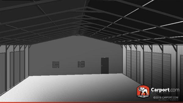 36x81 Steel Garage Drive Interior 2