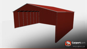40 x 26 commercial carport three sides closed side view