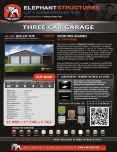 42x31 Custom Three Car Garage with Lean-to