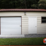Here's a front facing view of the one car vertical style metal garage workshop.