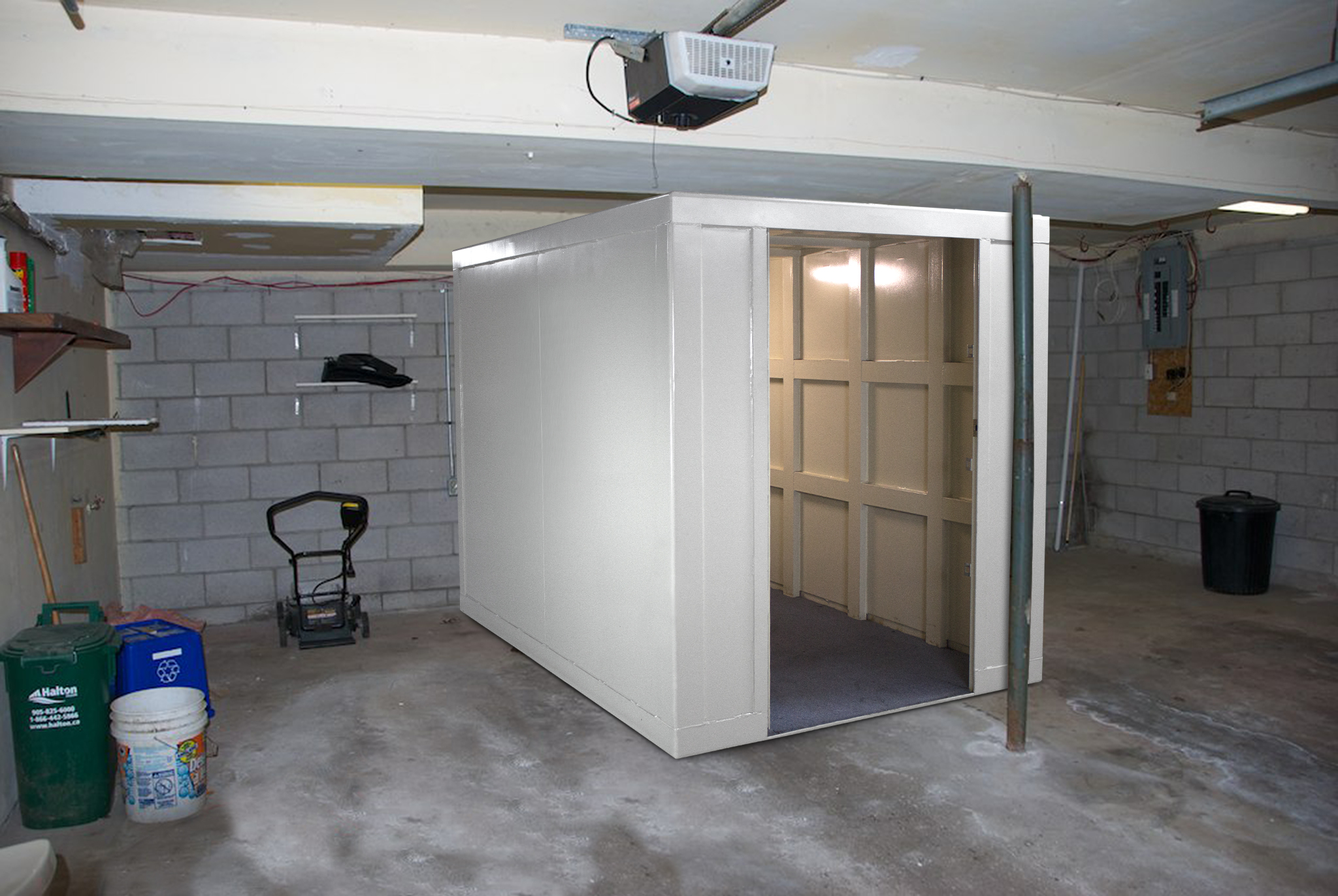 Safe room in a basement with lawn