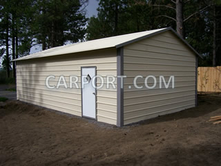Metal garage after successful installation.