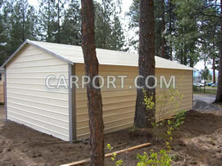 Back side of finished metal garage.