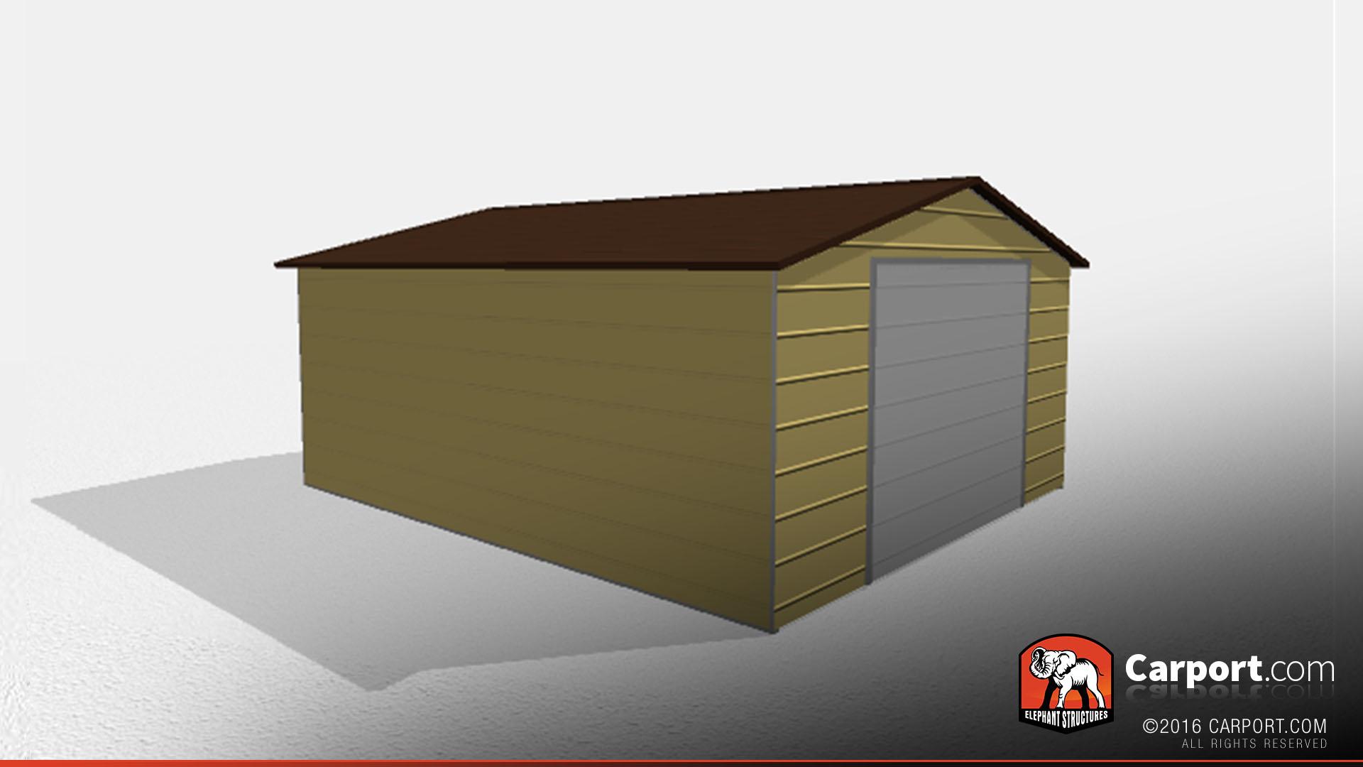 one car metal garage 18 39 x 21 39 x 9 39 shop carports and garages online. Black Bedroom Furniture Sets. Home Design Ideas