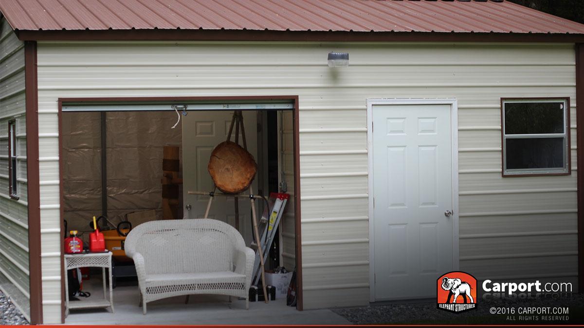 Roll up doors interior - 16 X 21 Vertical Style Metal Garage With Roll Up Door