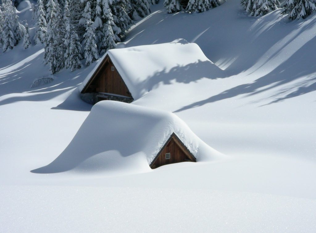 Houses buried in snow