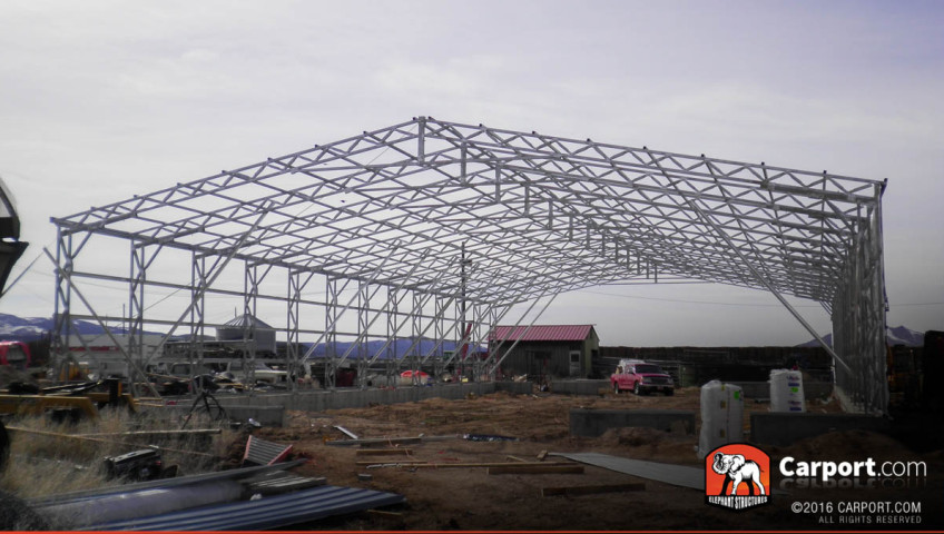Commercial metal building with only the framing installed.