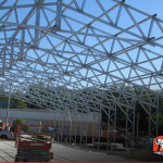 Commercial metal framing, view of the roof.