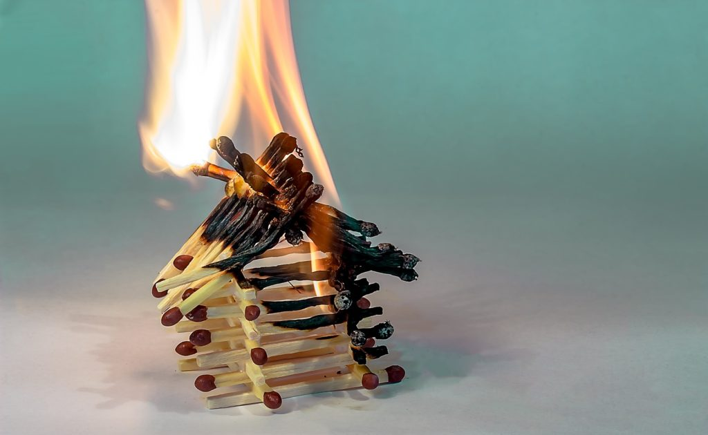 a house made of matches burn down