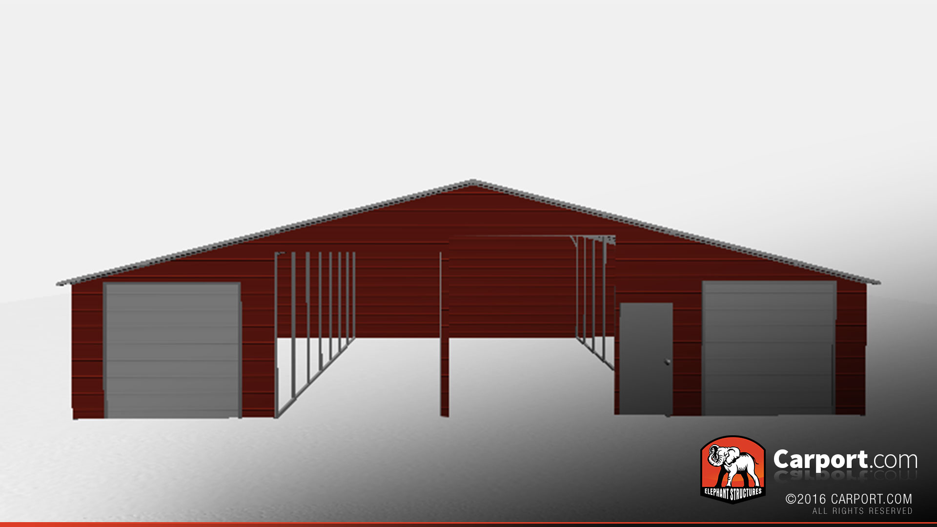 durable steel structure with lean-to's and open base