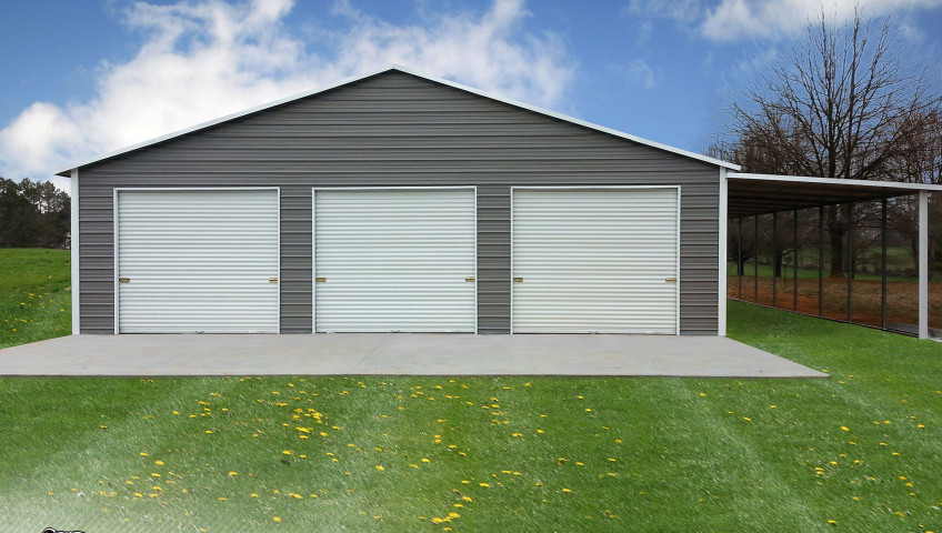 Valley Barn With One Lean To And Three Roll Up Garage Door