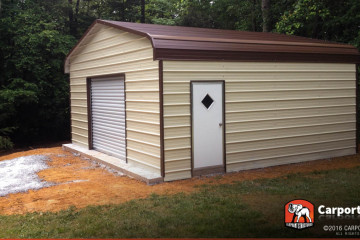 18x21 Regular Style Garage with Brown Roof and Clay Walls