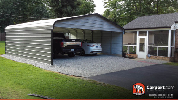 20x21 Double Wide Carport with Closed Sides