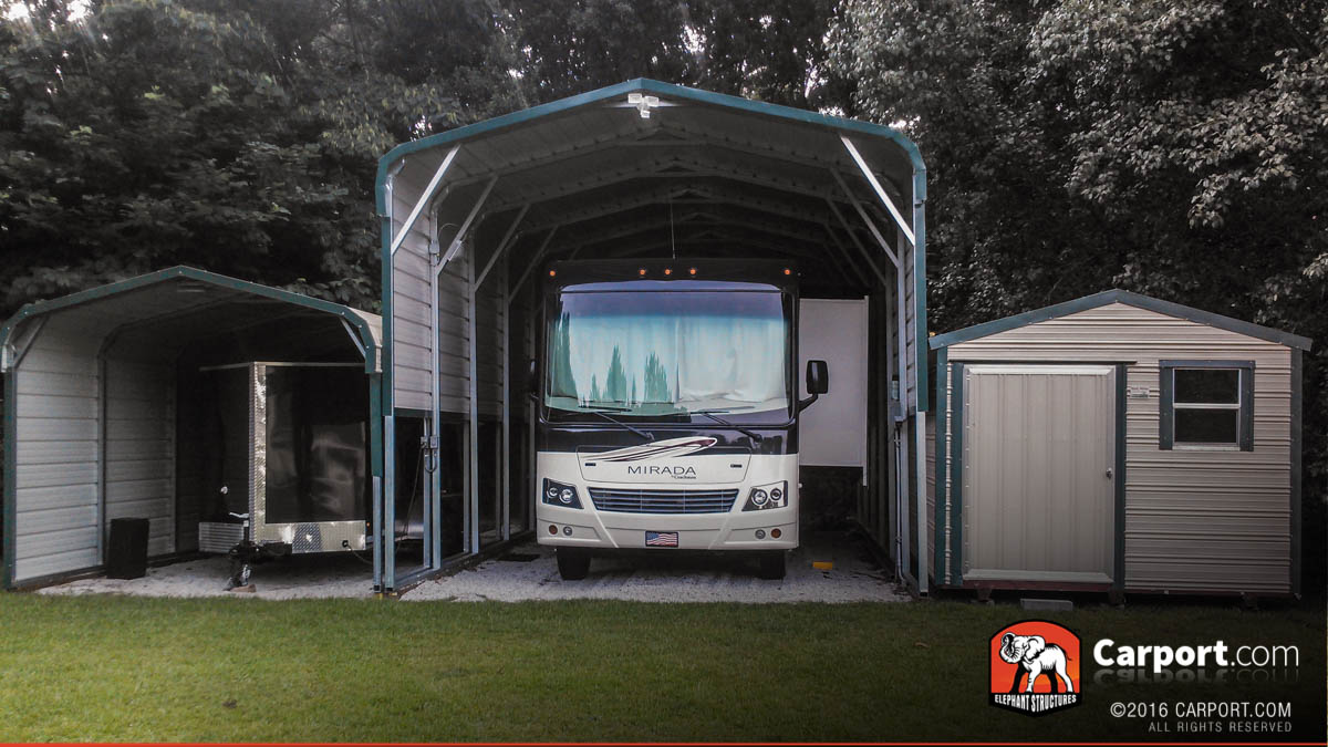 Regular style carport 14 39 x 36 39 x 12 39 shop metal for Rv shed ideas