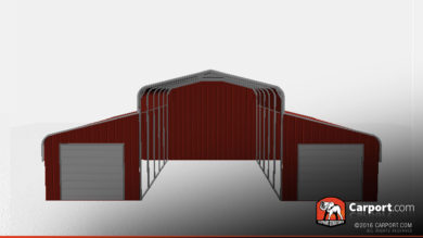 partially enclosed horse barn with 2 garage doors