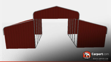36 x 21 x 11 partially-enclosed-metal-horse-barn