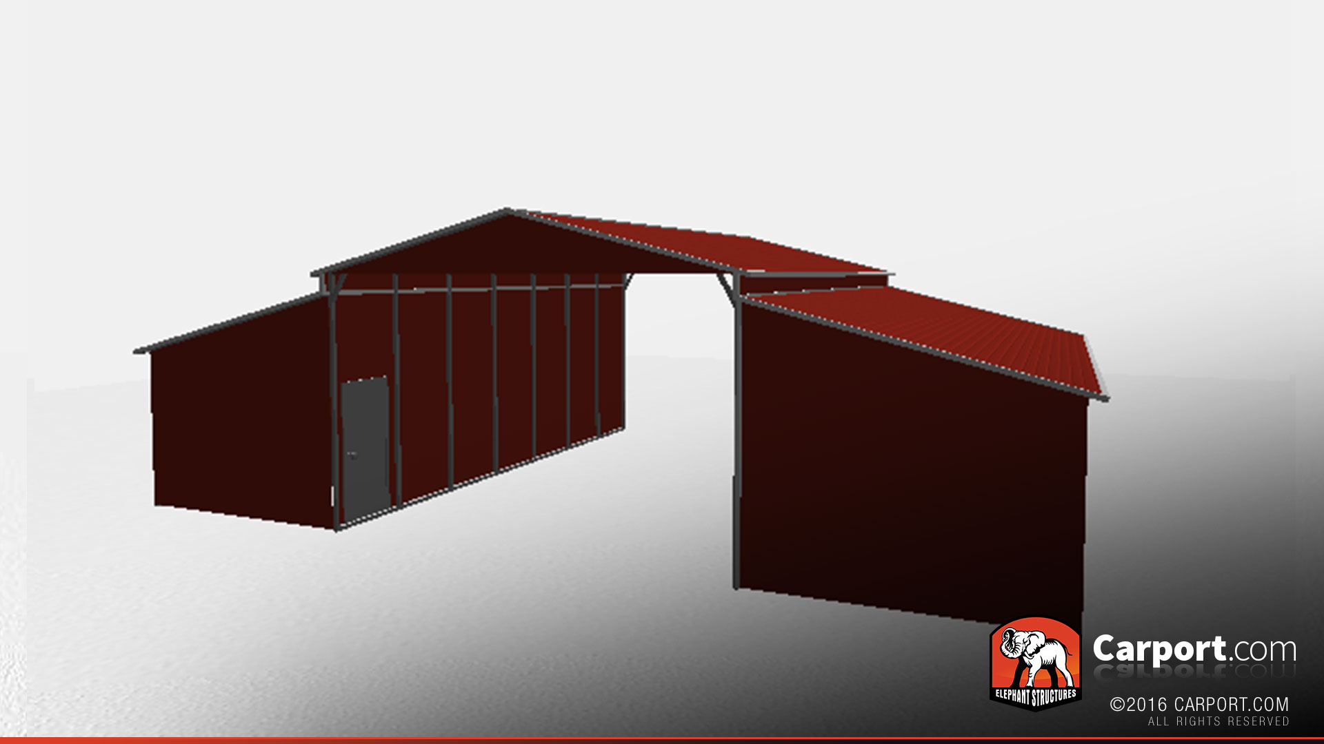 Ridgeline Style Metal Barn With Closed Storage Areas