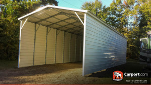 All White single car certified carport at 16' Wide x 31' Long x 12' High