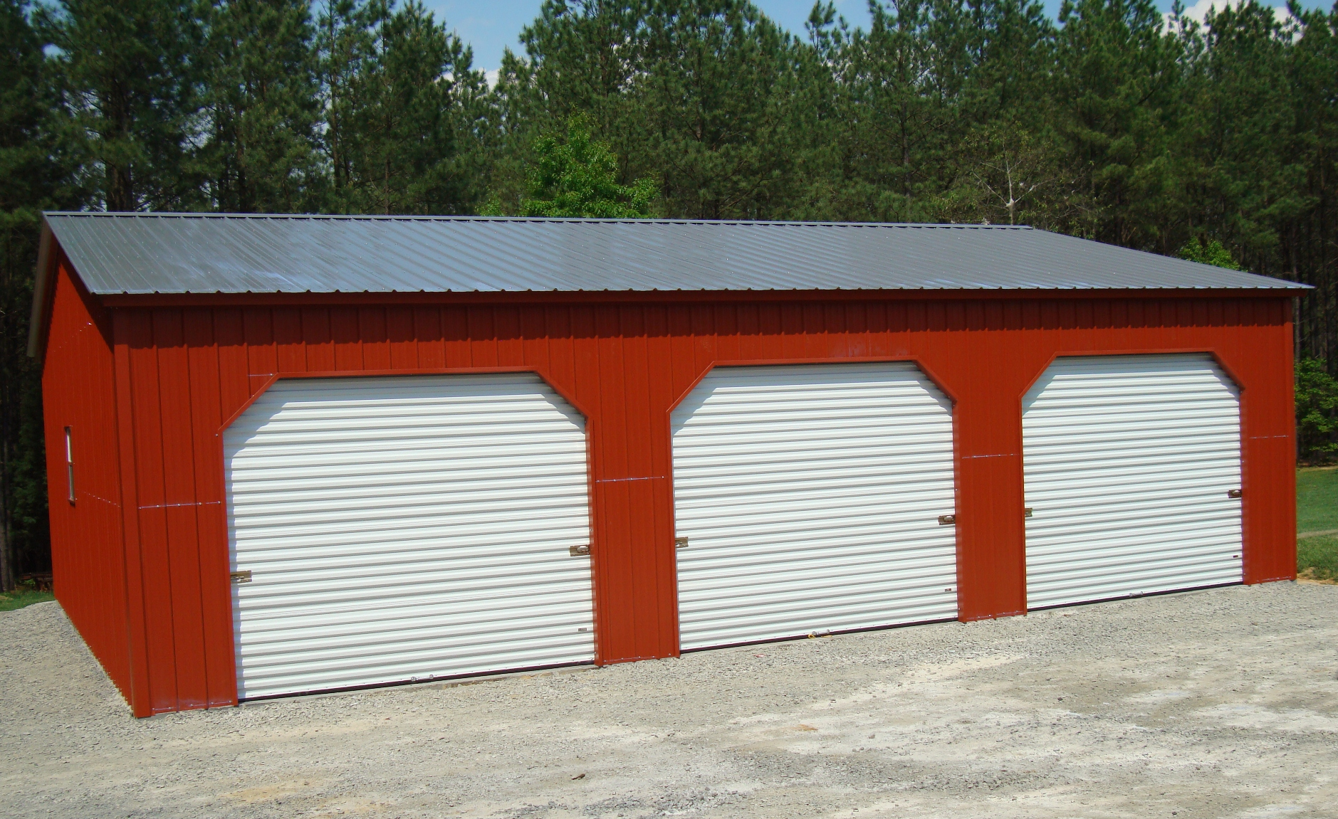 Three car steel garage options custom 3 car metal garage for Metal garage pics