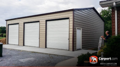 Commercial Three Car Garage with Brown Roof and Clay Walls