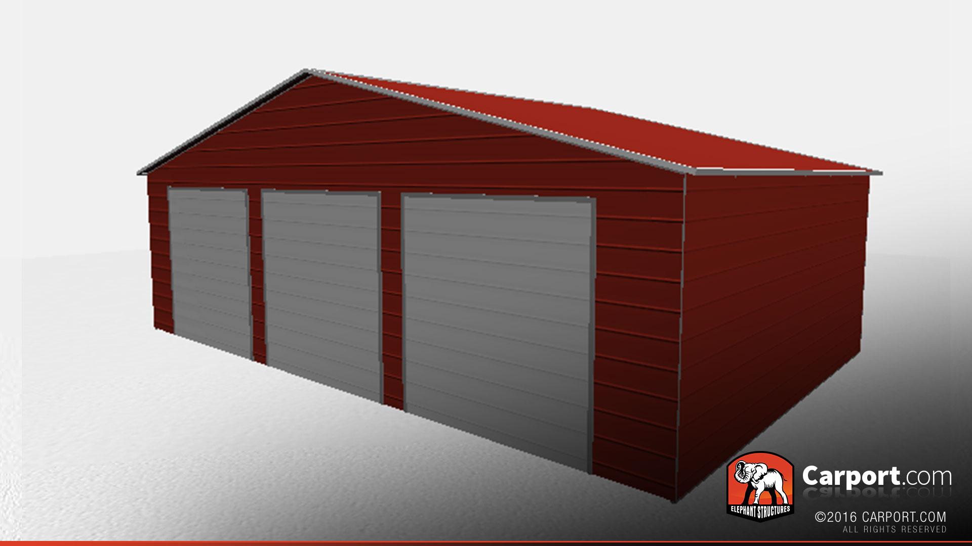 3 Car Garage With Storage 21691dr: Three Car Garage Storage Building With Vertical Roof