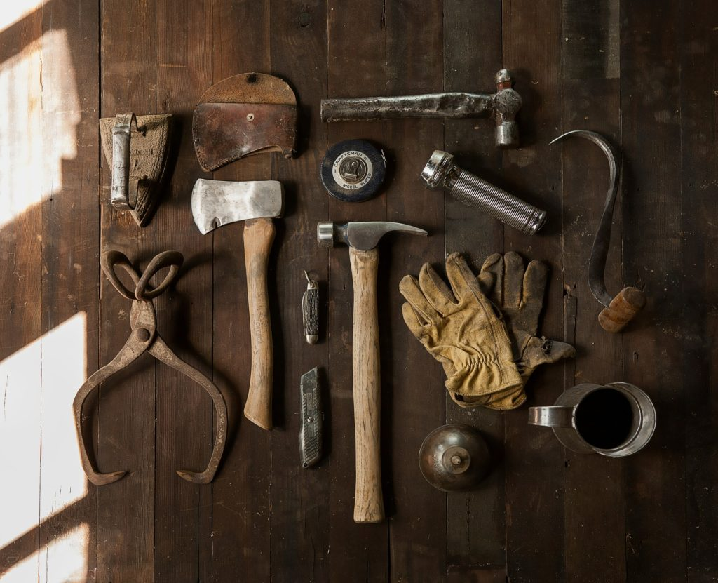 old fashion tools on an antique workshop