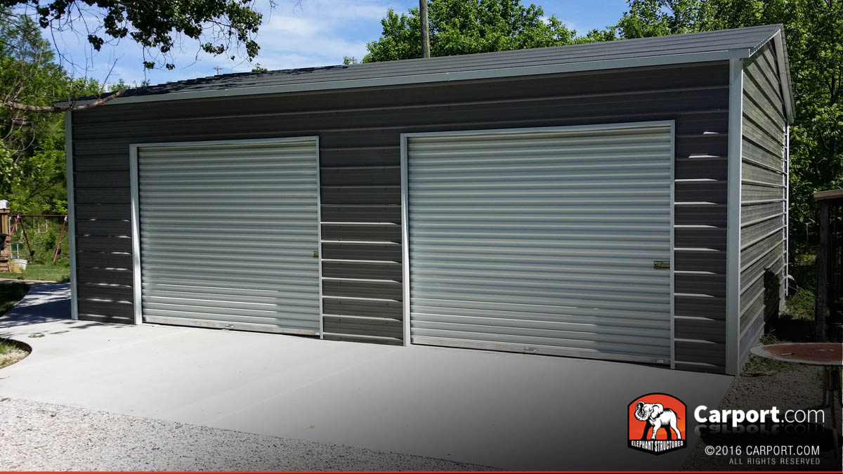 21x24 Custom Two Car Garage with Grey Roof and White Trim