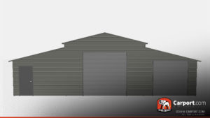 two garage door metal building with boxed eave roof